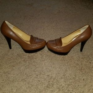 Nine West Penny Loafer Platform Pumps